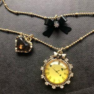 Betsey Johnson Jewelry - Betsy Johnson Gold Clock Bow Heart Necklace